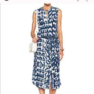Vince blue and white silk ikat dress sz medium